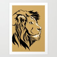 Lion in Black White and Yellow Art Print