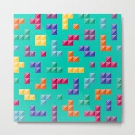 Tetris bricks jewel tones on turquoise pattern Metal Print