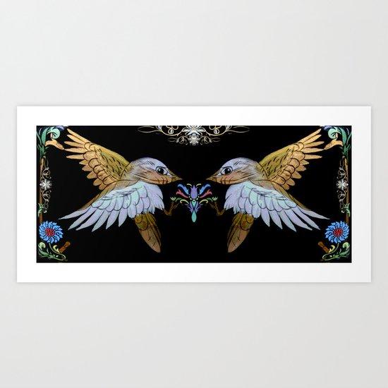 Chinese love birds. Art Print