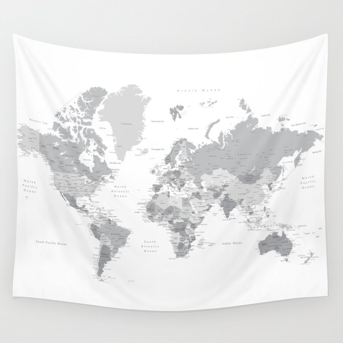 Gray World Map With Cities States And Capitals In The City Wall