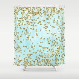 Sparkling gold glitter confetti on aqua ocean blue watercolor background - Luxury pattern Shower Curtain