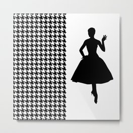 Black Modern Houndstooth with Fashion Silhouette Metal Print