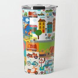 Animal Transportation Cars Trucks City Pattern Travel Mug
