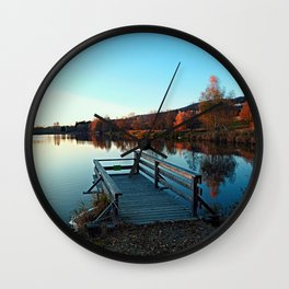 Indian summer sunset at the fishing lake II | waterscape photography Wall Clock
