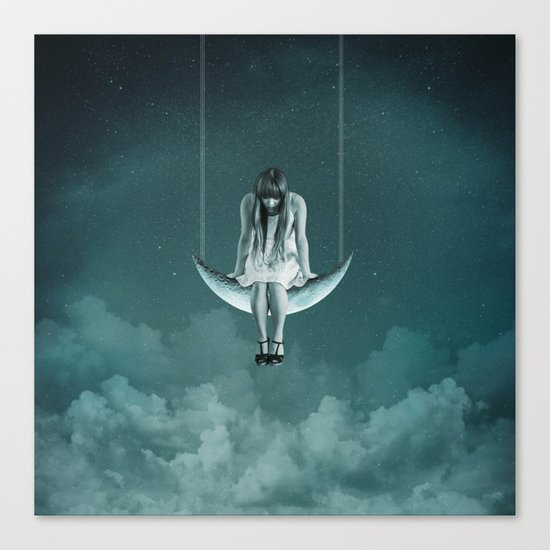 Moon Girl Dreams Canvas Print
