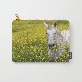 White Horse in a Yellow Pasture Carry-All Pouch