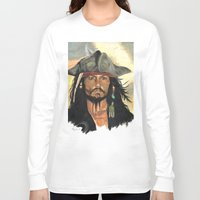 jack sparrow Long Sleeve T-shirts featuring Captain Jack Sparrow by marysiak