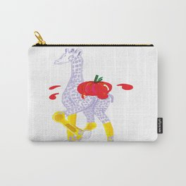 Thanksgiving Food Fight Tomatoe - Midas is Ready - Christmas Lavender Giraffe Carry-All Pouch
