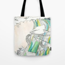 Whale Tital Wave Tote Bag