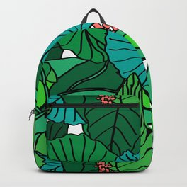 Jungle Leaves Illustrated in White Backpack