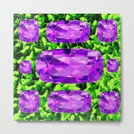 PURPLE AMETHYST FEBRUARY BIRTHSTONE GREEN ART Metal Print