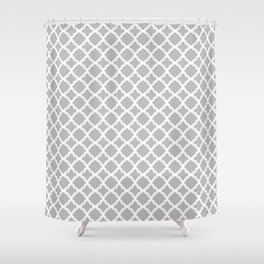 Lattice Gray on White Shower Curtain