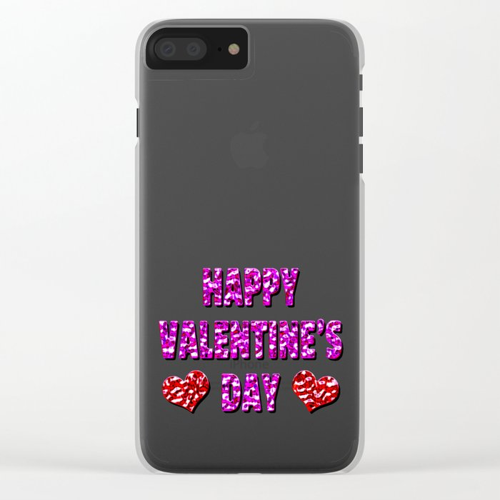 Happy Valentine's Day Metal Pink and Red Letters Clear iPhone Case