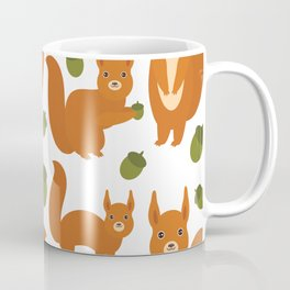 Seamless pattern Set of funny red squirrels with fluffy tail with acorn  on white background Coffee Mug