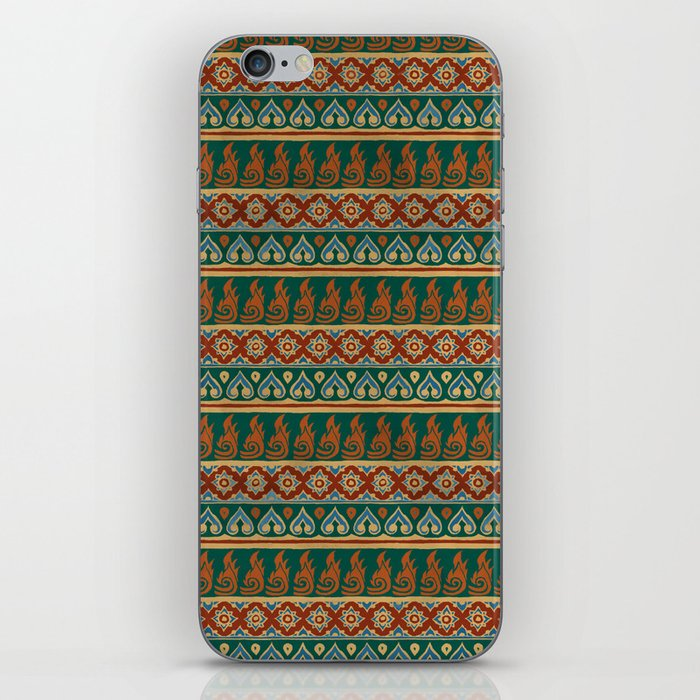 Thai Fabric Patterns - Aka Tribe Colour Palette iPhone Skin