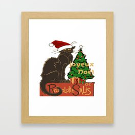 Joyeux Noel Le Chat Noir With Tree And Gifts Framed Art Print