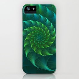 Blue And Green Nautilus Shell iPhone Case