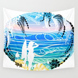 Vintage polynesian tribal Surf Art Wall Tapestry