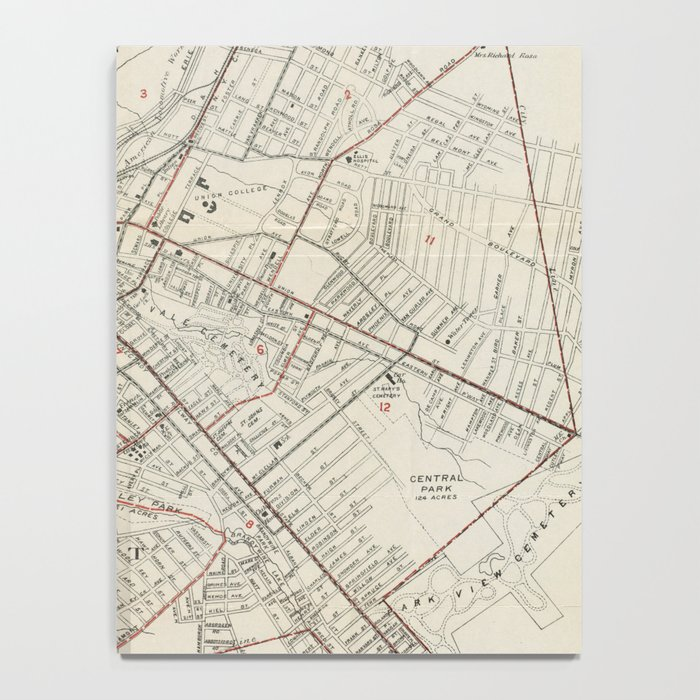 Vintage Map of Schenectady NY (1917) Notebook