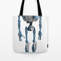 robot Tote Bags featuring Robot by Steve Thorpe