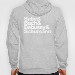 Satie and Bach and Debussy and Schumann, black bg Hoody