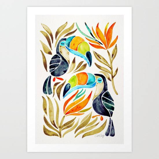 Tropical Toucans – Sepia Palette Art Print