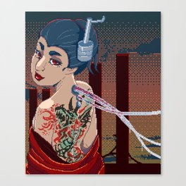 Japanese Yakuza Pixelart Cyberpunk Canvas Print