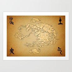 Avatar Last Airbender Map Art Print