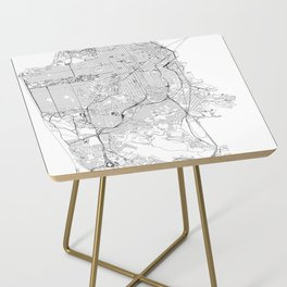 San Francisco White Map Side Table