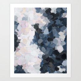 Navy Black Beige Lavender Abstract Art Moonlight Ocean Painting Art Print
