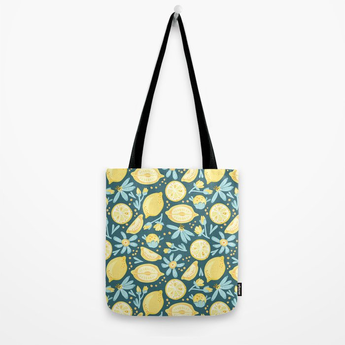 Lemon Pattern Green Tote Bag