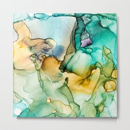 Caribbean Beach- Alcohol Ink Abstract Painting Metal Print