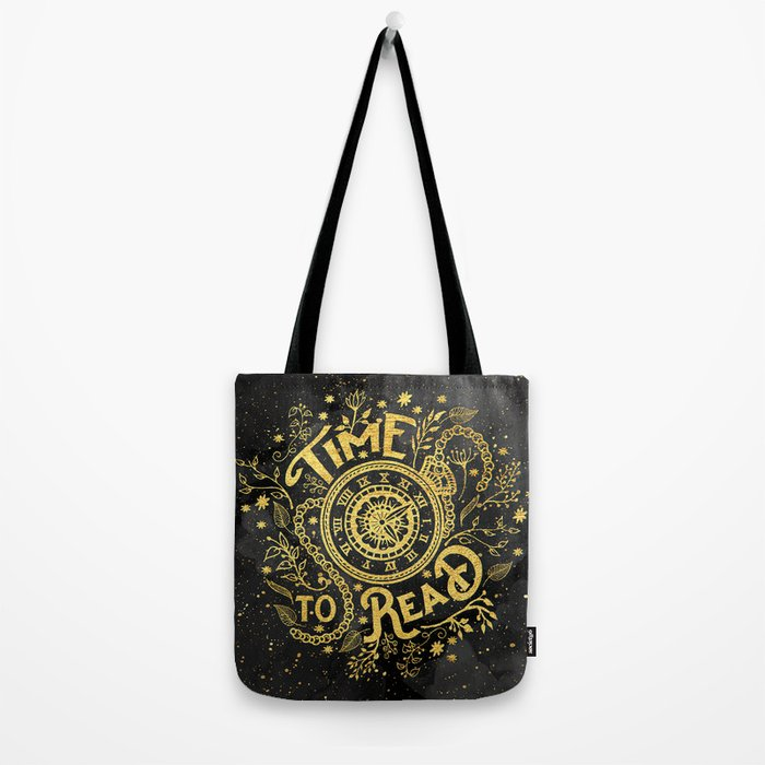 Time to Read - Gold Tote Bag