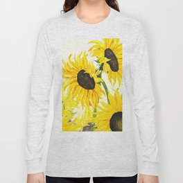 sunflower watercolor 2017 Long Sleeve T-shirt