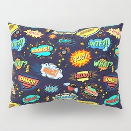 Retro Vintage Comic Book Speech Bubbles Design Pillow Sham