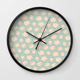 small pigs (teal) Wall Clock