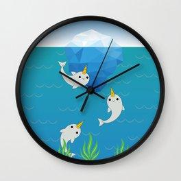Swimming Narwhals Wall Clock