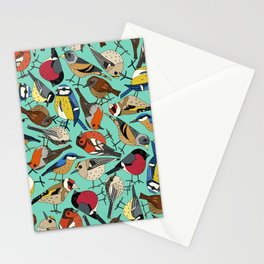 winter garden birds green Stationery Cards
