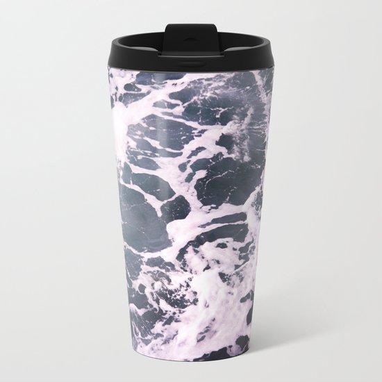 Marbled Waves Metal Travel Mug