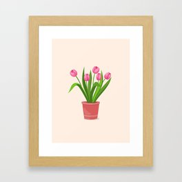 pink tulips in the pot Framed Art Print