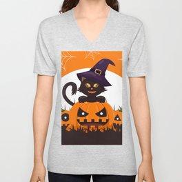 Halloween Black Cat Decor Pattern Unisex V-Neck