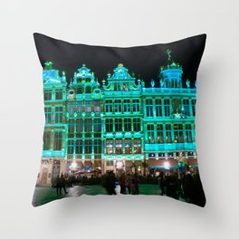 Bruxelles buildings under green lights Throw Pillow