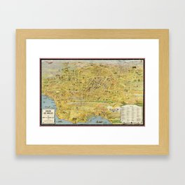 Vintage Los Angeles map Framed Art Print