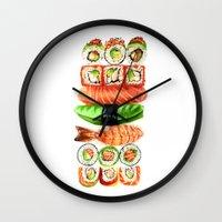 sushi Wall Clocks featuring Sushi by Sam Luotonen