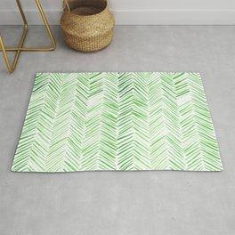 Watercolor Herringbone Pattern - Lime Green Rug