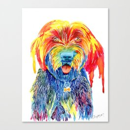 Colorful Tie Dye Wirehaired Pointing Griffon Canvas Print
