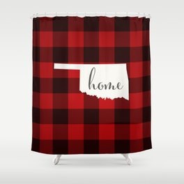 Oklahoma is Home - Buffalo Check Plaid Shower Curtain