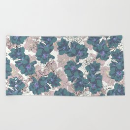Faded Hibiscus on White Beach Towel