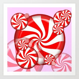 RED PEPPERMINT CHRISTMAS HOLIDAY CANDY Art Print