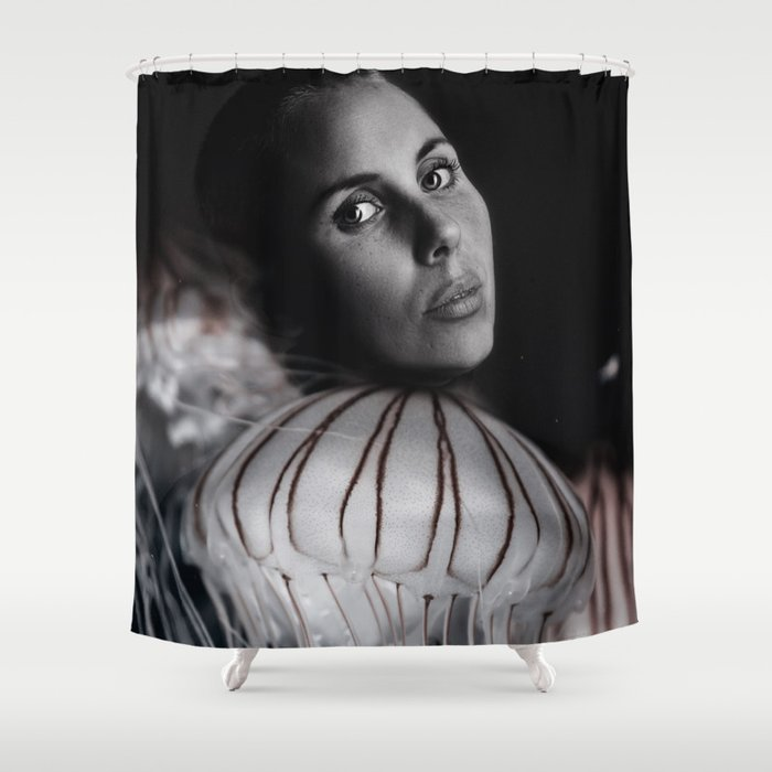 Jellyfish portrait Shower Curtain